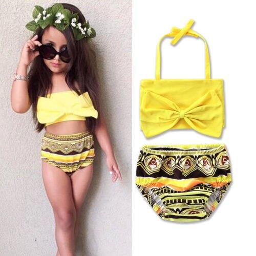 Baby Girls Swimsuits Two-Piece Swimwear High Waist Bowknot Bikini Beach Swimwear Summer Fits Bathing Suits 2-7T Fits