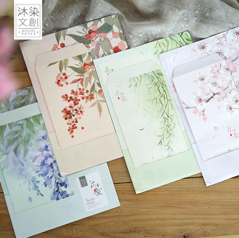 9pcs/Set 3 Envelopes + 6 Sheets Letter Paper Summer Flowers Series Envelope For Gift Korean Stationery