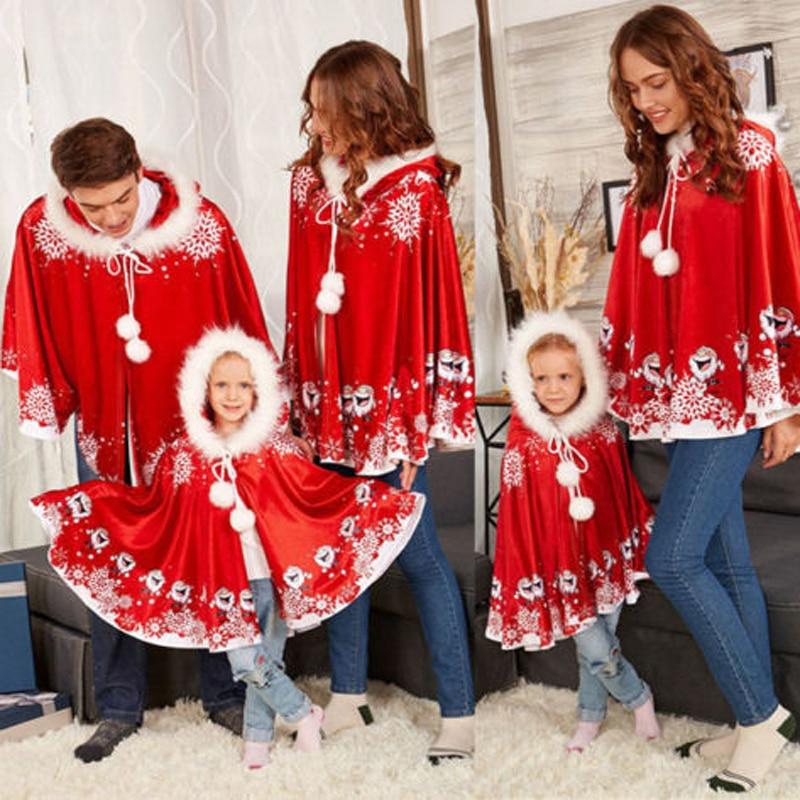 Family Santa Claus Christmas Snowflake Cloak New Fancy Christmas Hooded Party Costume Xmas Parent-child Winter Warm Velvet Cloak