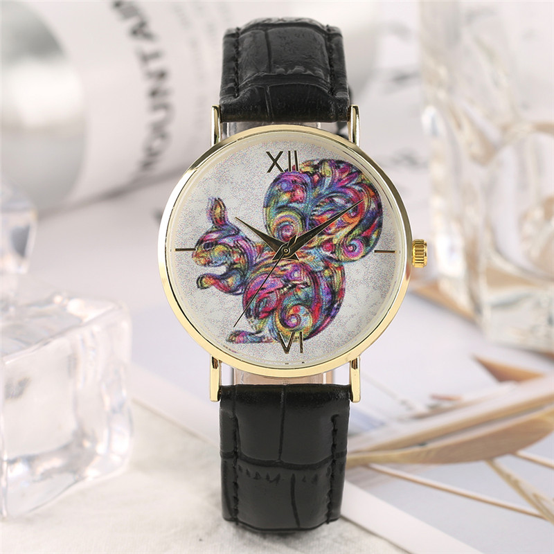 Creative Colorful Squirrel Pattern Design Analog Quartz Wrist Watch Black Red Pink PU Leather Band Women Clock Bracelet Gift pu band bracelet analog quartz wrist watch for women black