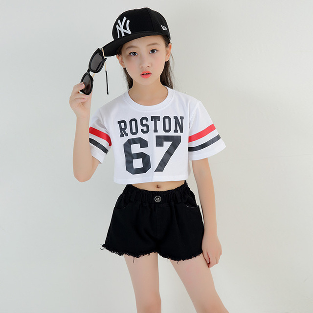 3ffb9dba1a06 Kids Loose Cropped T Shirts Tops Casual Shorts Hip Hop Clothing ...
