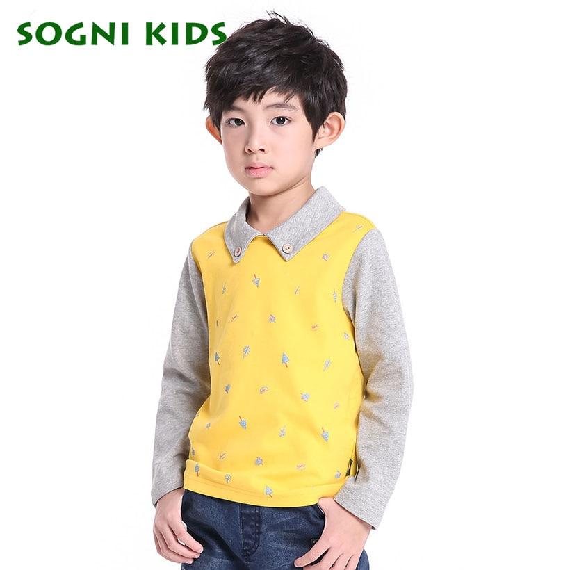 SOGNI KIDS Knit Print Sweatshirts Baby Boy Factory direct clothing Turndown Collar Cotton Coats Children Pathwork