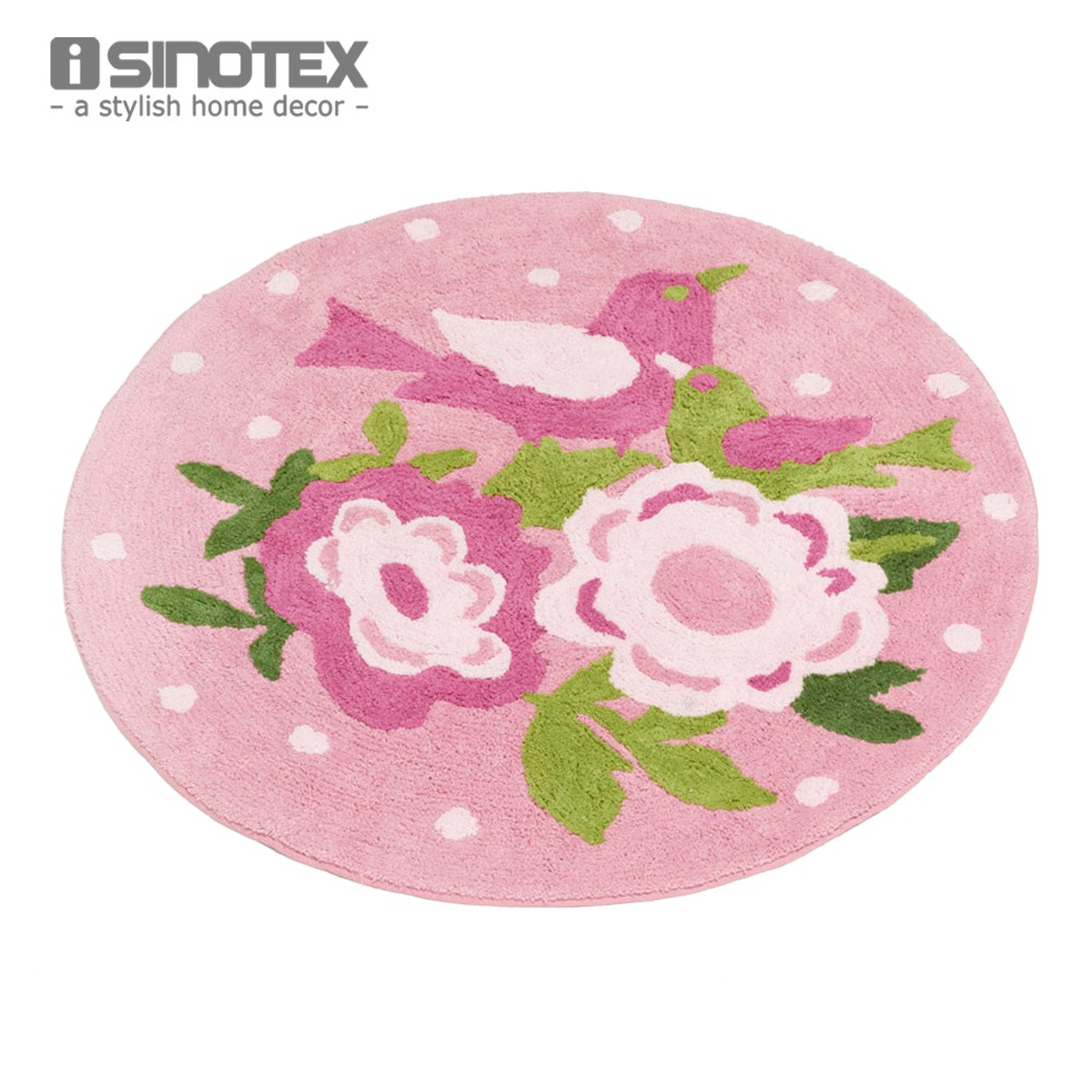 Shabby Chic Floor Rug Carpet For Kids Room 100% Cotton Handmade Anti-slip Doormat 80cm Diameter Round Non-slip tapete 1pcs/lot