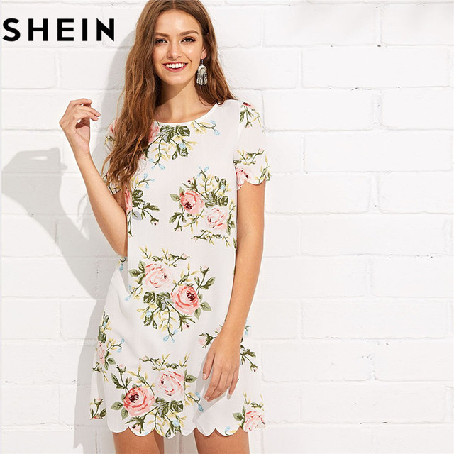 57bb84a5966 SHEIN Summer Straight Short Sleeve Floral Print Casual Mini Dresses 2018  Women Preppy Scalloped Edge Botanical Print Short Dress
