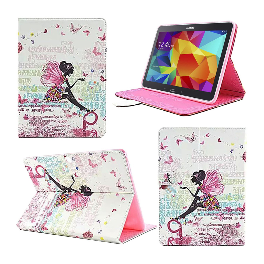 For Galaxy Tab 4 10.1 SM-T530 Case Bling Diamond Fairy Butterfly Leahter Cover Cases for Samsung Tab 4 10.1 T530 Capa Fundas аккумулятор для samsung galaxy tab 4 10 1 sm t530
