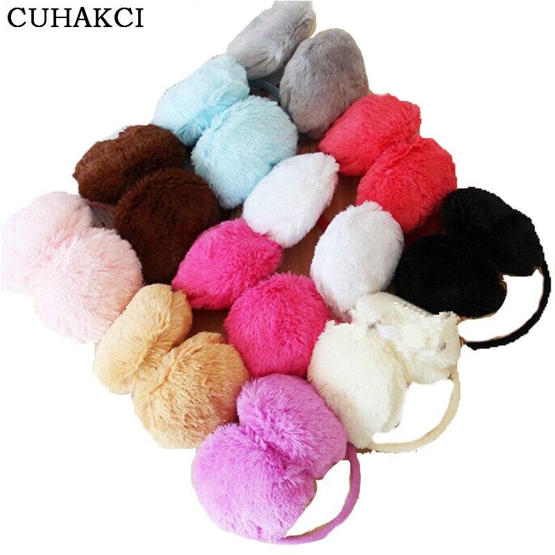 CUHAKCI Women Earmuffs Adult Winter Ear Warmer 2018 New Teenage Headband Fur Round Ear Muffs Teenage Student Girl Hot Sale