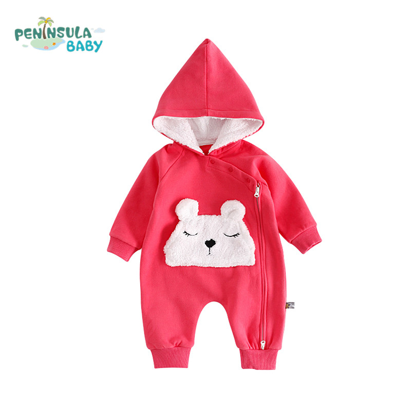 2017 Autumn Winter Baby Rompers Newborn Boys Girls Hooded Long Sleeve Thicker Cartoon Bear Clothes Infant Warm Jumpsuits 2017 baby boys girls long sleeve winter rompers thicken warm baby winter clothes roupa infantil boys girls outfits cc456 cgr1