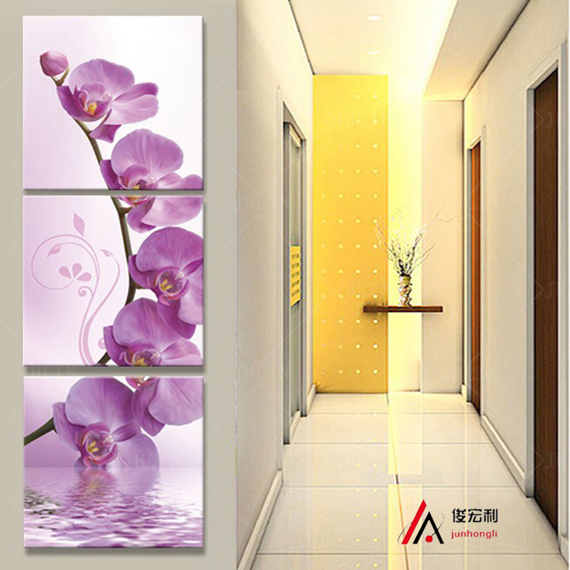 3 piece art corridor on the wall stereoscopic orchid canvas oil painting print living room on the wall modular pictures printd