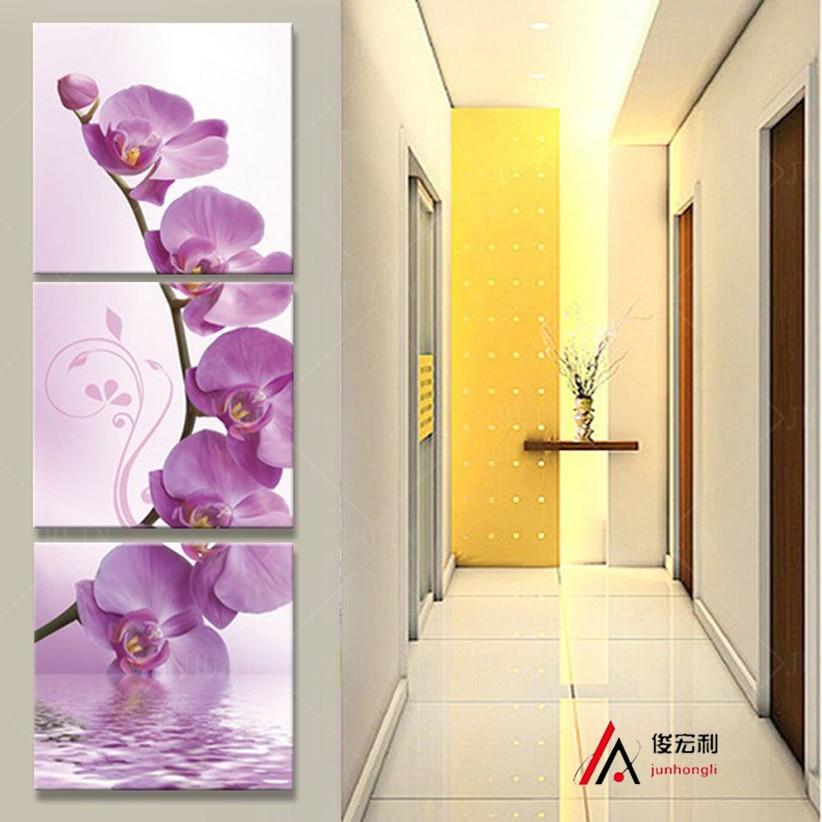 3 kus umění chodba na zdi stereoskopické orchidej plátno olejomalba tisk obývací pokoj na zdi modulární obrázky printd