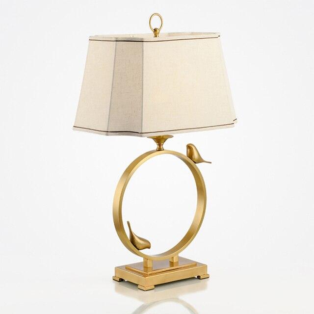 New Chinese Modern Bronze Gold Bird Designer Table Lamp Decorative Creative Sample House American Living Room