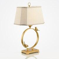 New Chinese Modern Bronze Gold Bird Designer Table Lamp Decorative Creative Sample House American Living Room Bedroom Study