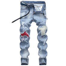 High quality men's jeans hole jeans Casual Straight jeans  ripped jeans men hiphop pants Washed jeans for men denim trousers