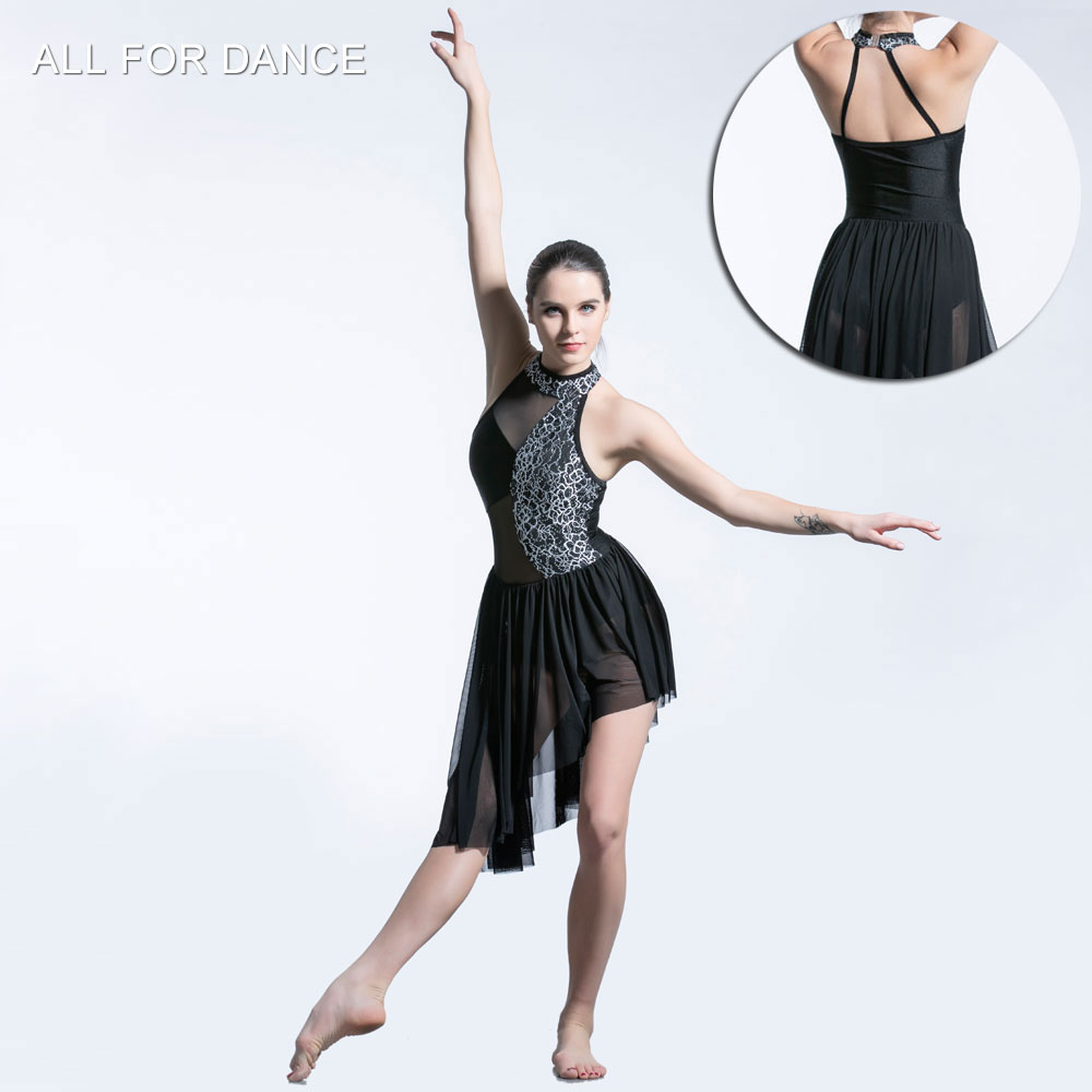 Black Sequin Lace Bodice long skirt ballet dress Girl & Women stage performance ballet costumes lyrical & contemporay dress image