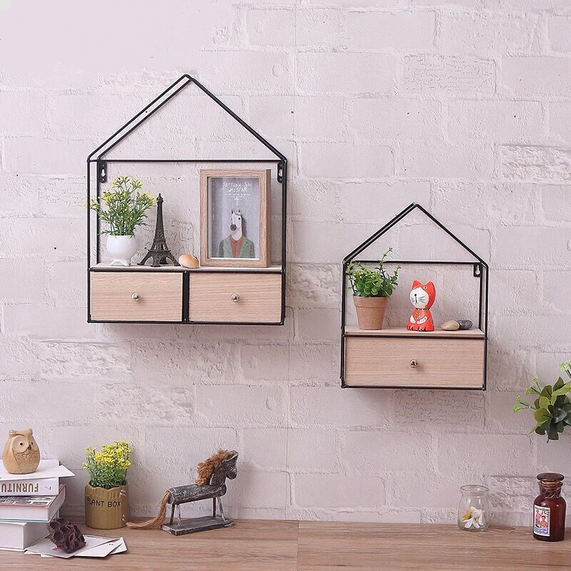 Creative Wall Triangle Closet Drawer Storage rack Iron + Wood Potted plants Cabinet Router for home wall decoration  hot iron storage cabinet custom processing