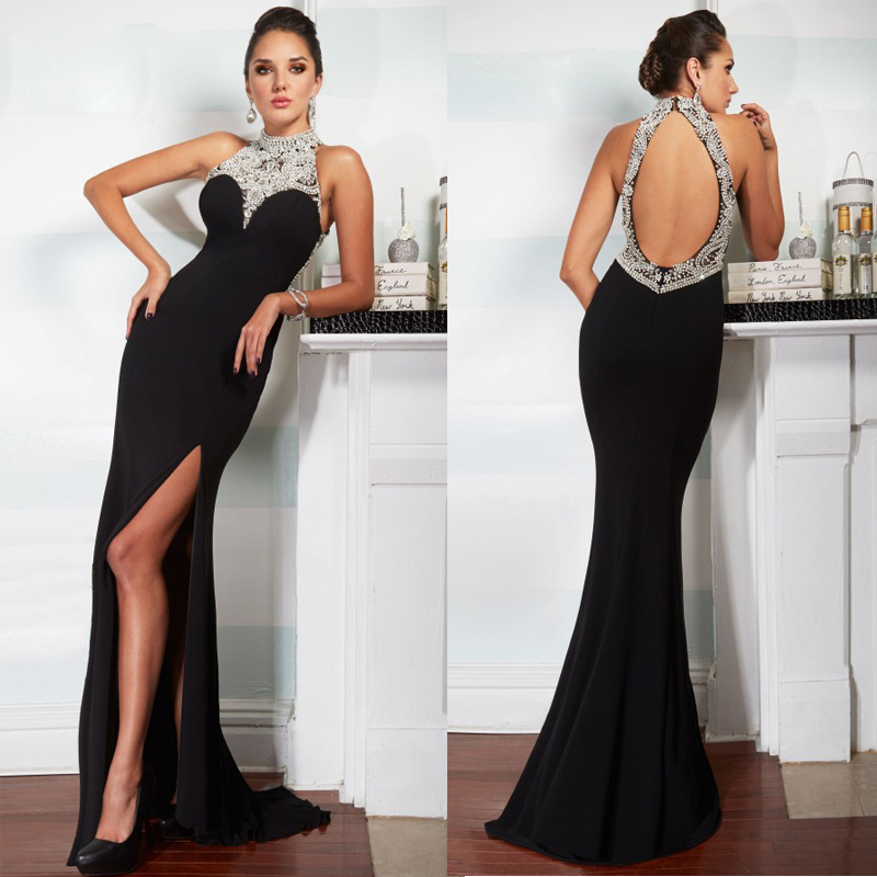 long black halter dress - Dress Yp