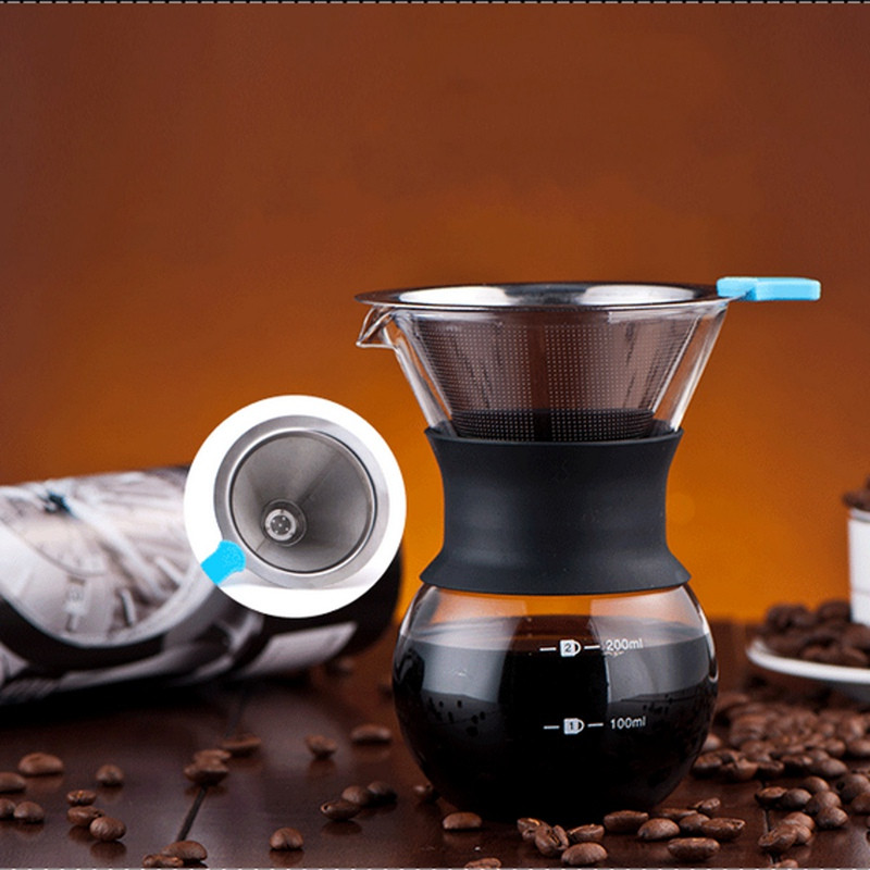 Convenient Dual Layer Solid Stainless Steel Coffee Filter Dripper Pour Over Holder Handle Coffee ...