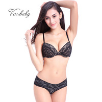 Varsbaby Summer New Comfortable Thin Cotton Cup Underwear Deep V Sexy Bra Set