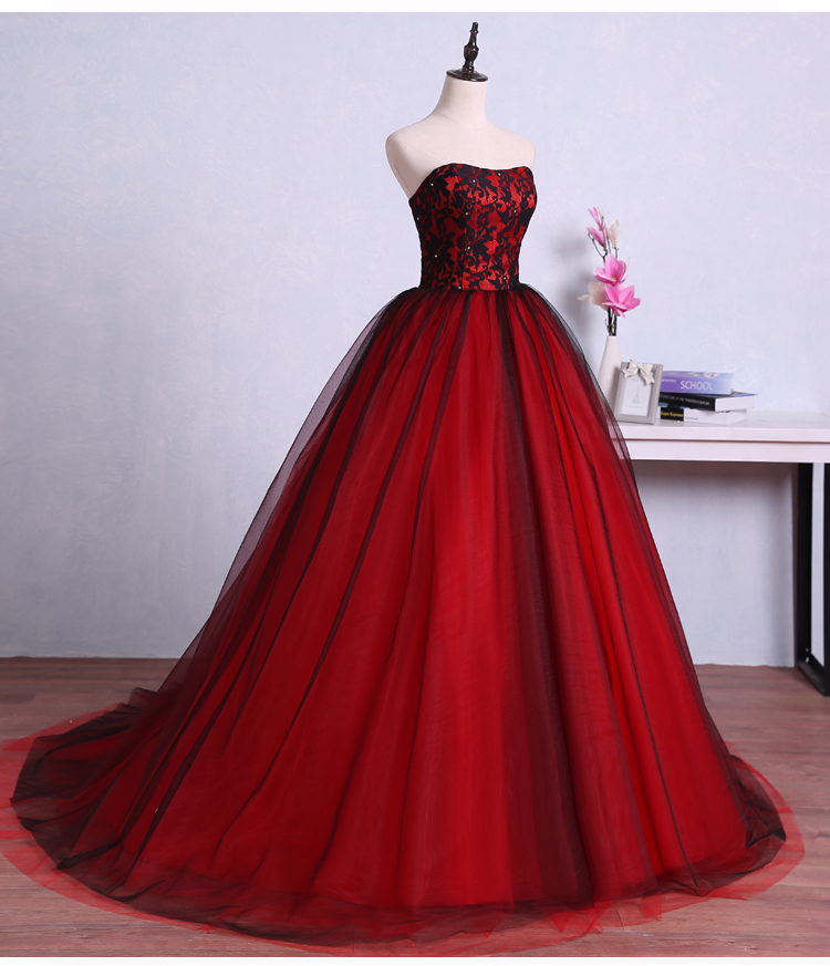 Vintage red black gothic wedding dresses 2017 sweetheart for Red and black wedding dresses