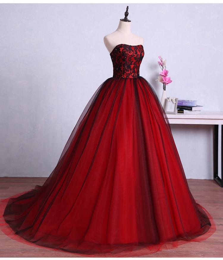 Vintage Red Black Gothic Wedding Dresses 2017 Sweetheart