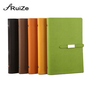Image 5 - RuiZe Faux leather spiral notebook A5 office business planner agenda 2020 loose leaf note book 6 ring binder notepad stationery