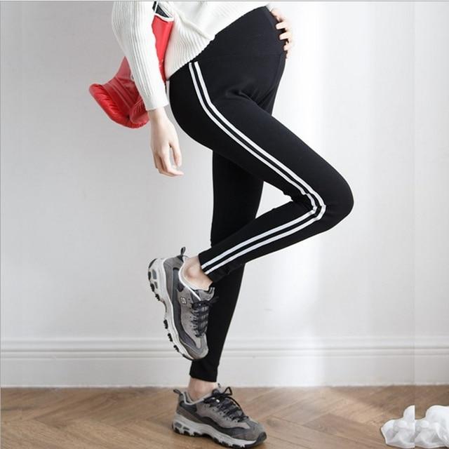 a3c33bca4efa0d Women Pregnant Leggings Adjustable Maternity Leggings Elasticity Pregnant  Pants Side Stripe Trousers Pregnancy Clothing