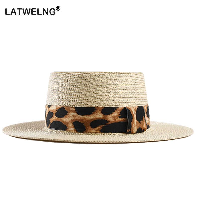 a95ffaaf 2019 New Women And Men Panama Hat Leopard Straw Hat For Women Visor Cap  Male Flat