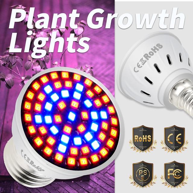 Full Spectrum E27 Led Grow Light Bulb GU10 Fito LED Plant Growing Lamp E14 Phyto Lamp MR16 Greenhouse Indoor Grow Tent Box B22