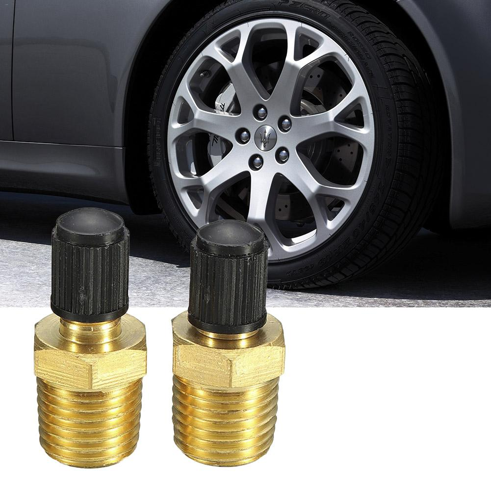 Brass Tire Valve Stem 2 Pcs Solid Brass With Mounting Core And Black Plastic Cover Air Compressor Oil Box Filling Valve