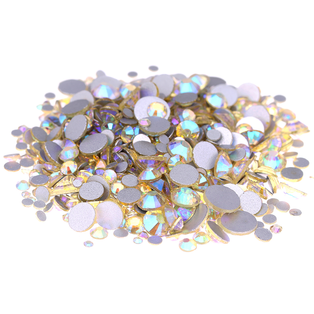 Jonquil AB Non Hotfix Crystal Rhinestones For Nails Art Decorations SS3-SS30 Glue On Strass Diamonds DIY Crafts Wedding Dresses ss3 ss30 jet black ab nail art rhinestones with round flatback for nails art cell phone and wedding decorations