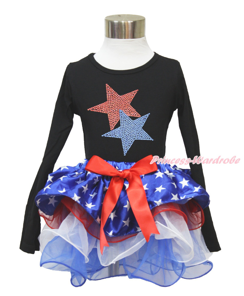 4th July Rhinestone Star Black Long Sleeves Top Patriotic Star Red White Petal Pettiskirt NB-8Year MAMH227 4th july america flag style stripe pettiskirt white ruffle tank top 2pc set 1 8year mamg1143