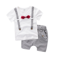 Baby fits boys T-shirts summer season shorts Korean model 2017 new youngsters's clothes pretend tape bow two units 2-7T