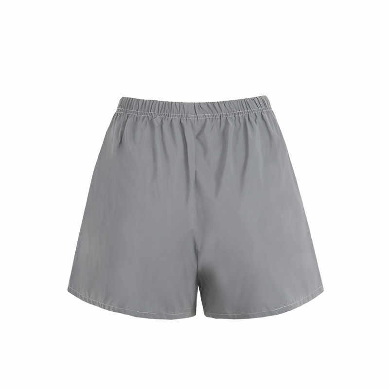 Moda kobiety odblaskowe krótkie spodnie kobiece Jogger szorty błyszczące hip pop fluorescencyjne krótkie spodnie sportowe sukienka do klubu W3