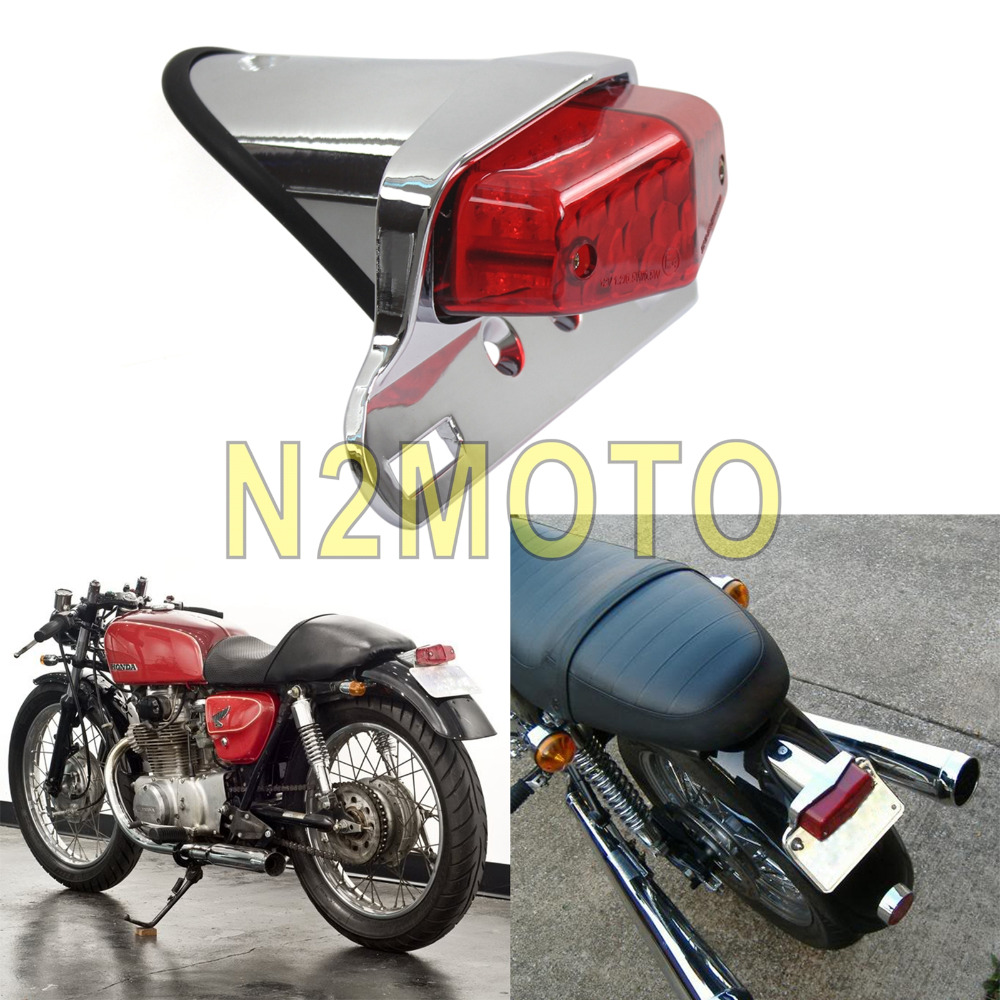 Chrome Red 12V 19PCS LED Taillights Brake Lamp Lucas Taillamp Universal For Bobber Chopper Classic Vintage Cafe Racer