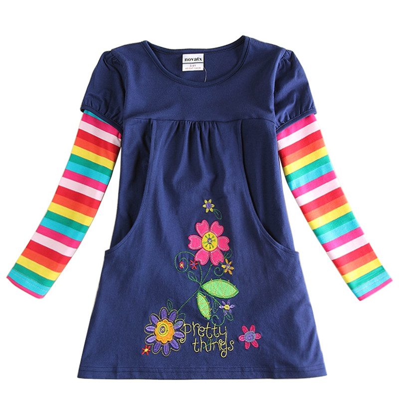 NOVATX платья для девочек Одежда для малышей хлопка с длинным рукавом Платье для маленьких девочек платье принцессы костюм для детей Одежда