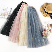 Wasteheart Blue Pink Black Women Skirts High Waist Dots Pleated Lace Ankle Length Skirt Mesh Clothing Vintage A-Line Long
