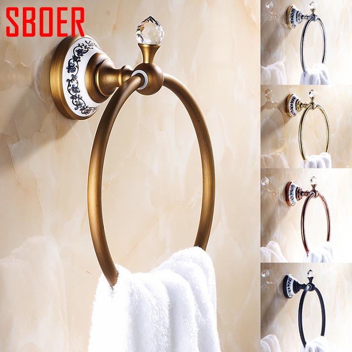 Luxury Crystal & Brass rose gold antique copper black chrome  Towel Ring,Towel Holder, Towel Bar Bathroom Accessories in wall copper finished luxury gold towel holder brass towel ring bathroom accessories with crystal decoration