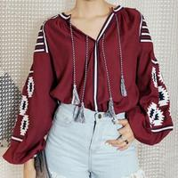 Autumn new national wind retro lantern sleeve loose casual long sleeved cotton embroidered tassel shirt 6colors