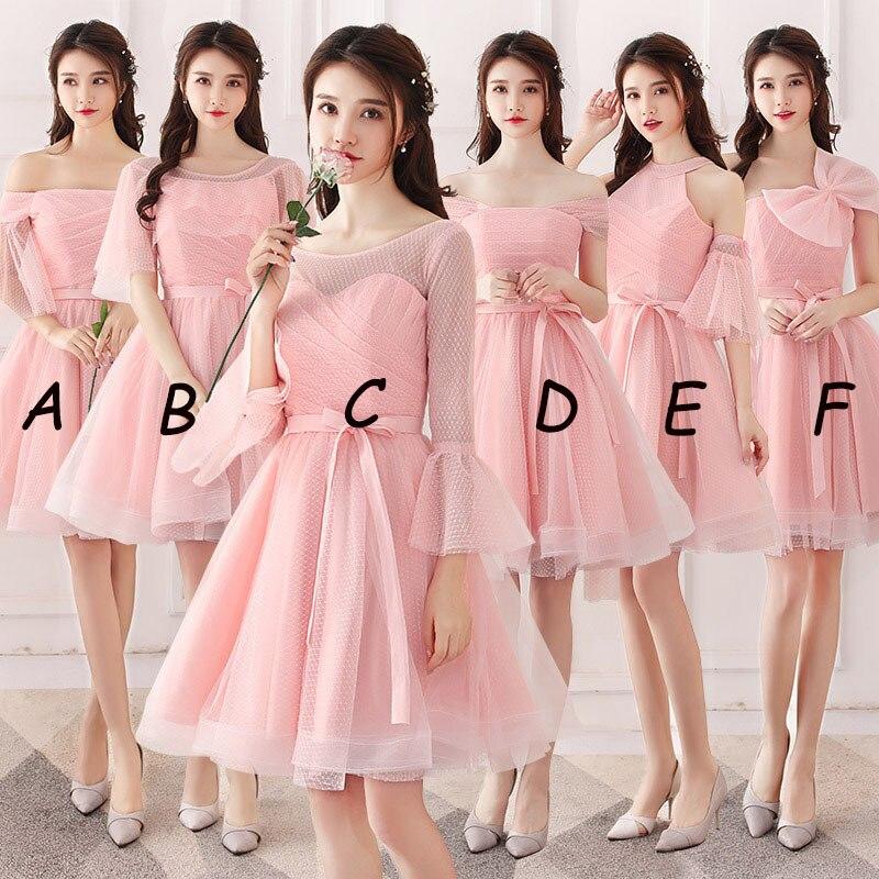 Mingli Tengda rose bateau cou robes de demoiselle d'honneur court 2018 élégant hors de l'épaule robes pour la fête de mariage abito damigella