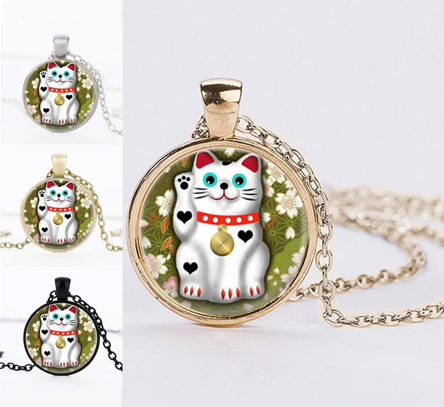 Gold Color Chain Lucky Cat Maneki Neko Glass Cabochon Pendant Necklaces Best Frends Gifts Handmade Summer Jewelry Black Friday