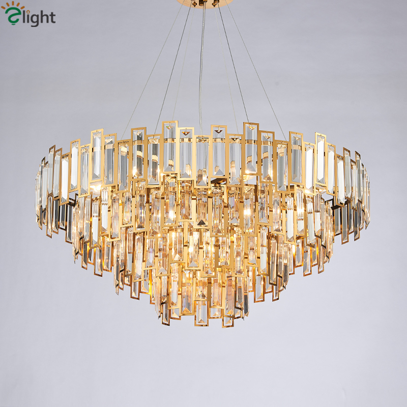 Living Room Luxury Gold Led Pendant Light Round Lustre Steel Luminarias Hotel Hanging Lamp Indoor Lihgitng Fixtures Suspend Lamp
