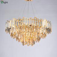 Living Room Luxury Gold Led Pendant Light Round Lustre Steel Luminarias Hotel Hanging Lamp Indoor Lihgitng