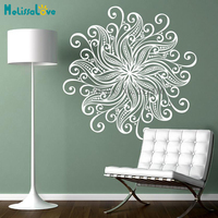 Vinyl Wall Sticker Complex and Beautiful Flower Mandala Decals Home Decor For Living Room 3D Self-adhesive Art Murals YY847