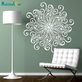 Vinyl Wall Sticker Complex and Beautiful Flower Mandala Decals Home Decor For Living Room 3D Self-adhesive Art Murals YY847 1