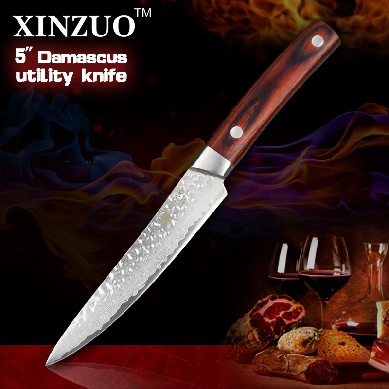 2016 NEW 5 INCHES Multi purpose font b knife b font Damascus kitchen font b knives