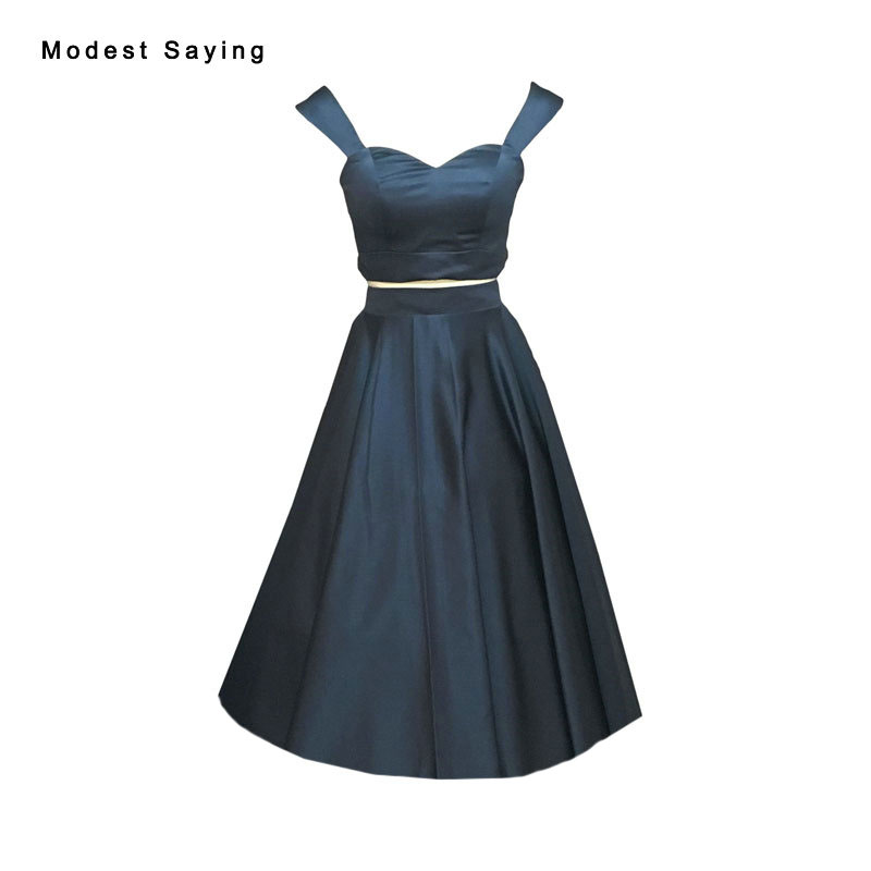 Real Elegant Navy Blue Sweetheart Satin 2 pieces   Cocktail     Dress   2017 Formal Tea Length Graduation Prom Gown robe de   cocktail   VC7