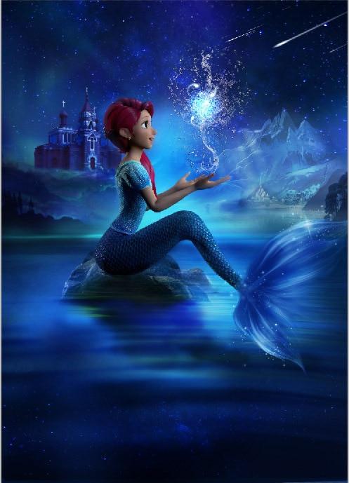5x7ft Dark Blue Sea Little Mermaid Ariel Princess Castle