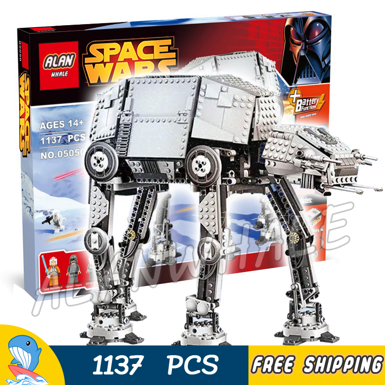 1137pcs Space Wars New Motorized Walking AT-AT Power Functions 05050 DIY Model Building Blocks Toys Bricks Compatible with Lego 11types techinic power functions motorized moc m l xl servo motor battery box model building blocks toy set compatible with lego