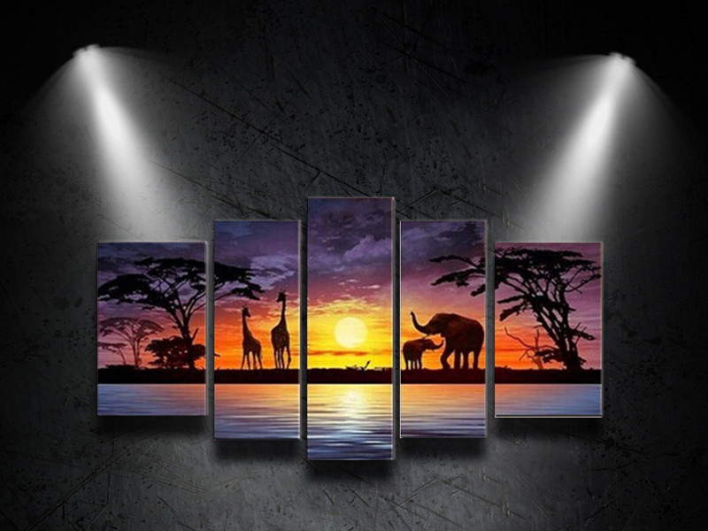 100%Hand Painted Landscape painting Abstract Animal Elephant Giraffe Picture Home Decor Oil Painting on Canvas 5 Panels Wall Art