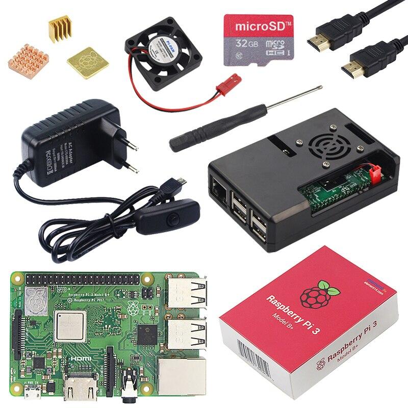Original Raspberry Pi 3 Modelo B Plus con WiFi y Bluetooth + carcasa ABS + ventilador CPU + alimentación 3A con interruptor de encendido/apagado + disipador de calor Raspberry Pi 3B +