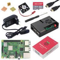 Raspberry d'origine Pi 3 modèle B Plus avec WiFi & Bluetooth + boîtier ABS + ventilateur cpu + alimentation 3A avec interrupteur marche/arrêt + dissipateur de chaleur Raspberry Pi 3B +